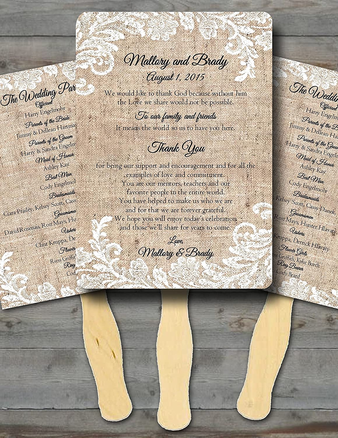Personalized Wedding fans/Wedding fans for guests/Wedding program  fans/Wedding favors/Rustic Wedding/Burlap and Lace, Set of 20