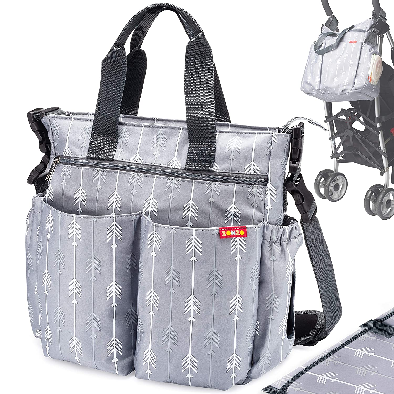 Messenger Bag Tote Baby Nappy Bag Changing Bag with Changing Pad and Shoulder Strap Multifunction Waterproof Lightweight Stylish Travel Handbag Mommy Bag
