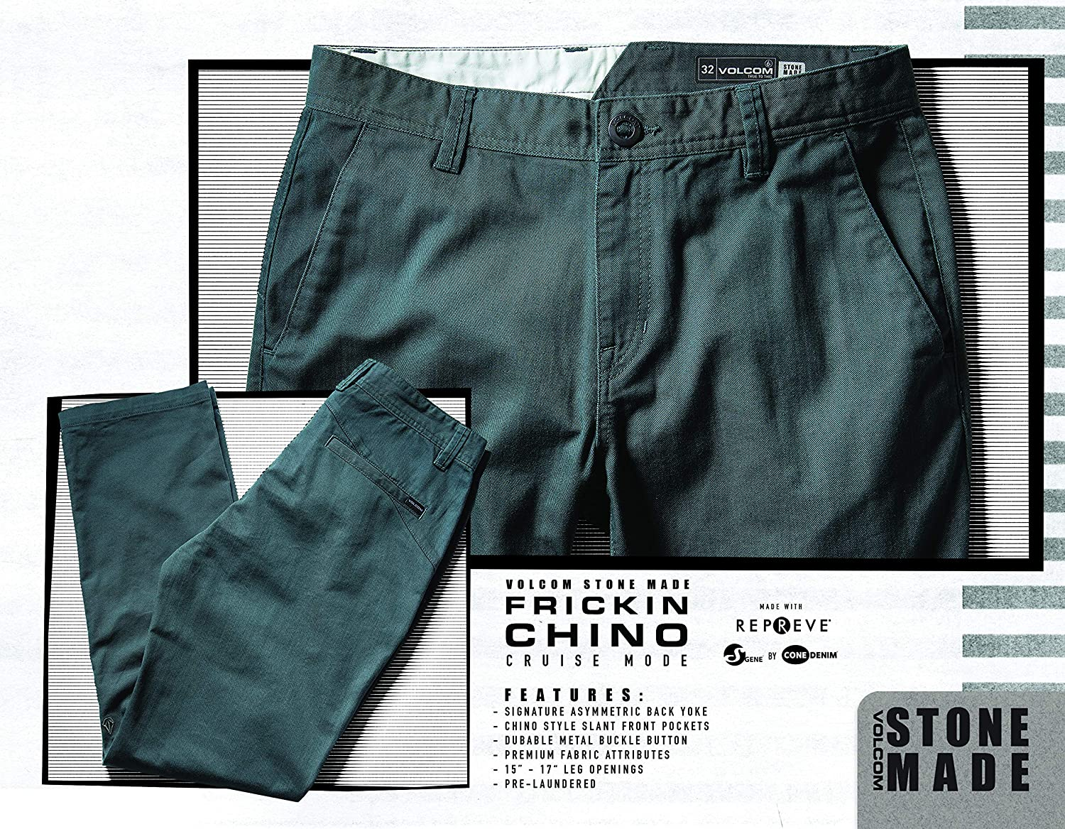 Amazon.com: Volcom Mens Frickin Modern Fit Stretch Chino Pant Dusty Green: Clothing