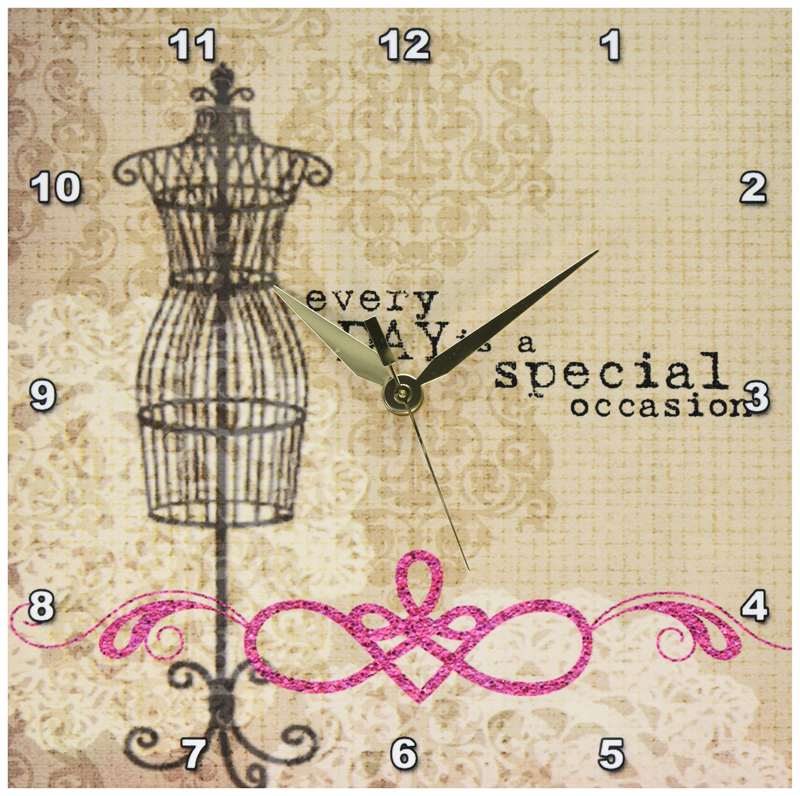 3dRose dpp_213957_1 Vintage Dress form with Every Day is a Special Occasion Wall Clock, 10 x 10