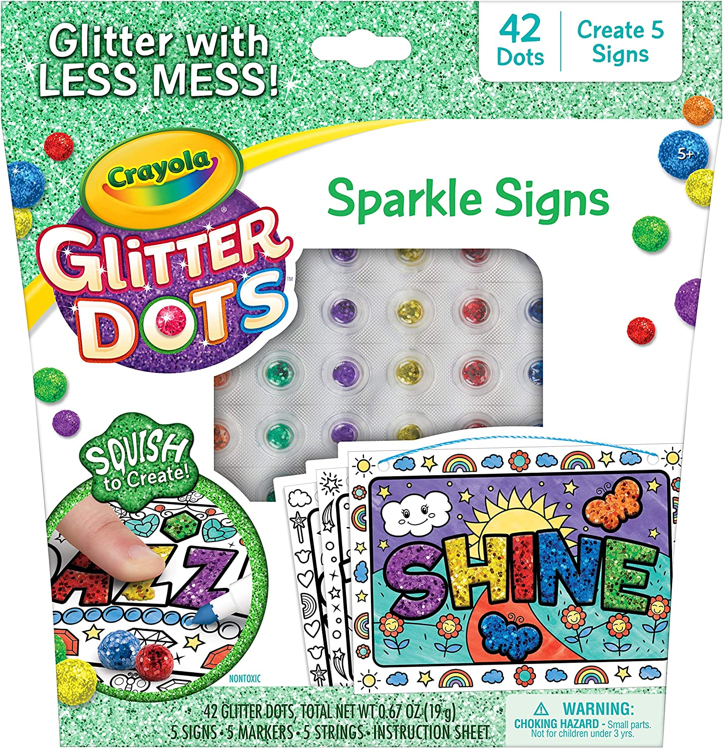 Crayola Glitter Dots Sparkle Signs Craft Kit, at Home Crafts for Kids, Age 5+