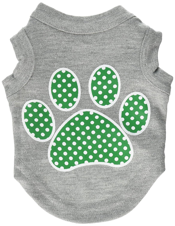 Dog   Cat   Pet Charms Green Swiss Dot Paw Screen Print Shirt Grey XS (8)