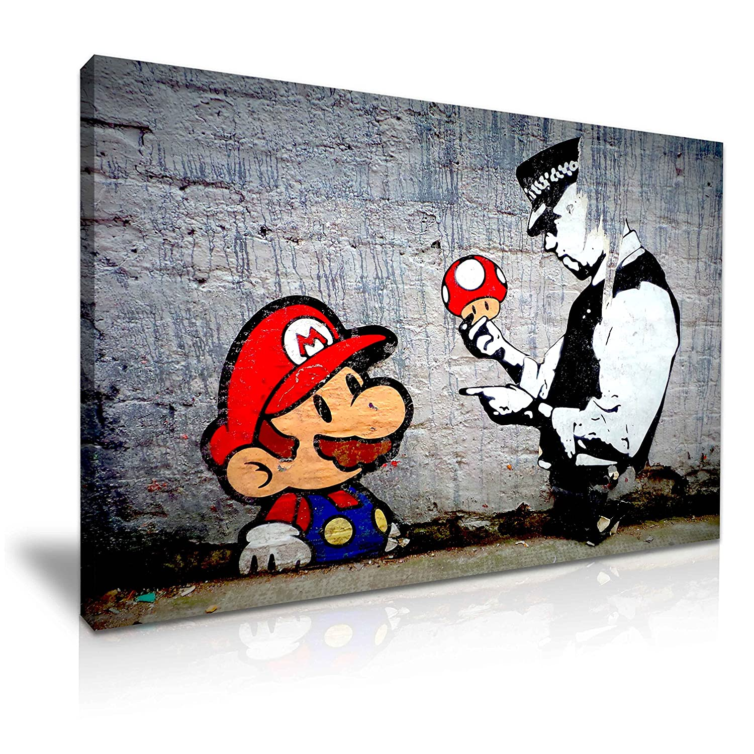 BANKSY MARIO AND POLICEMAN CANVAS PICTURE A3 SIZE