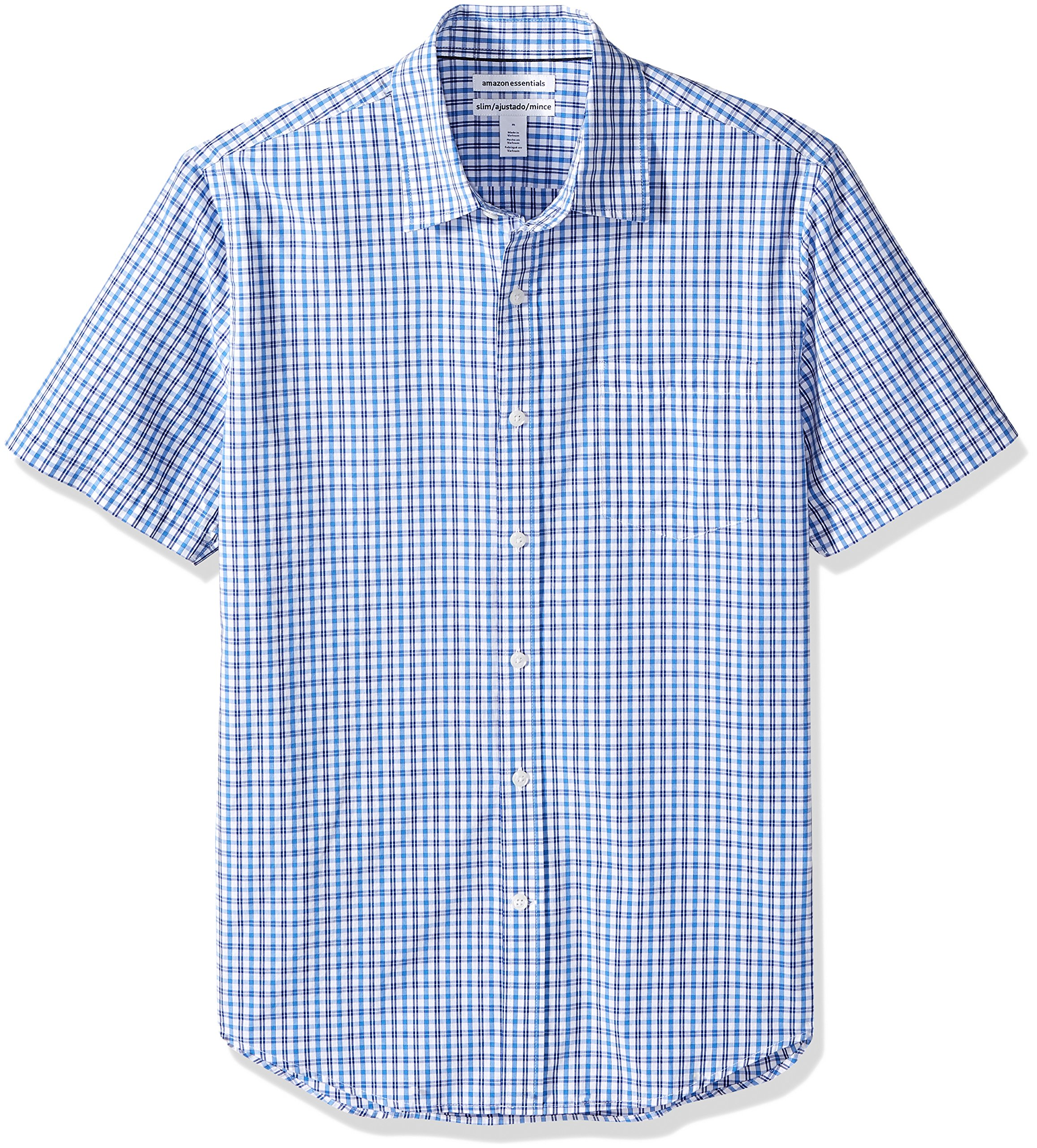 Amazon Essentials Men's Slim-Fit Short-Sleeve Plaid Shirt, Blue Plaid, Large