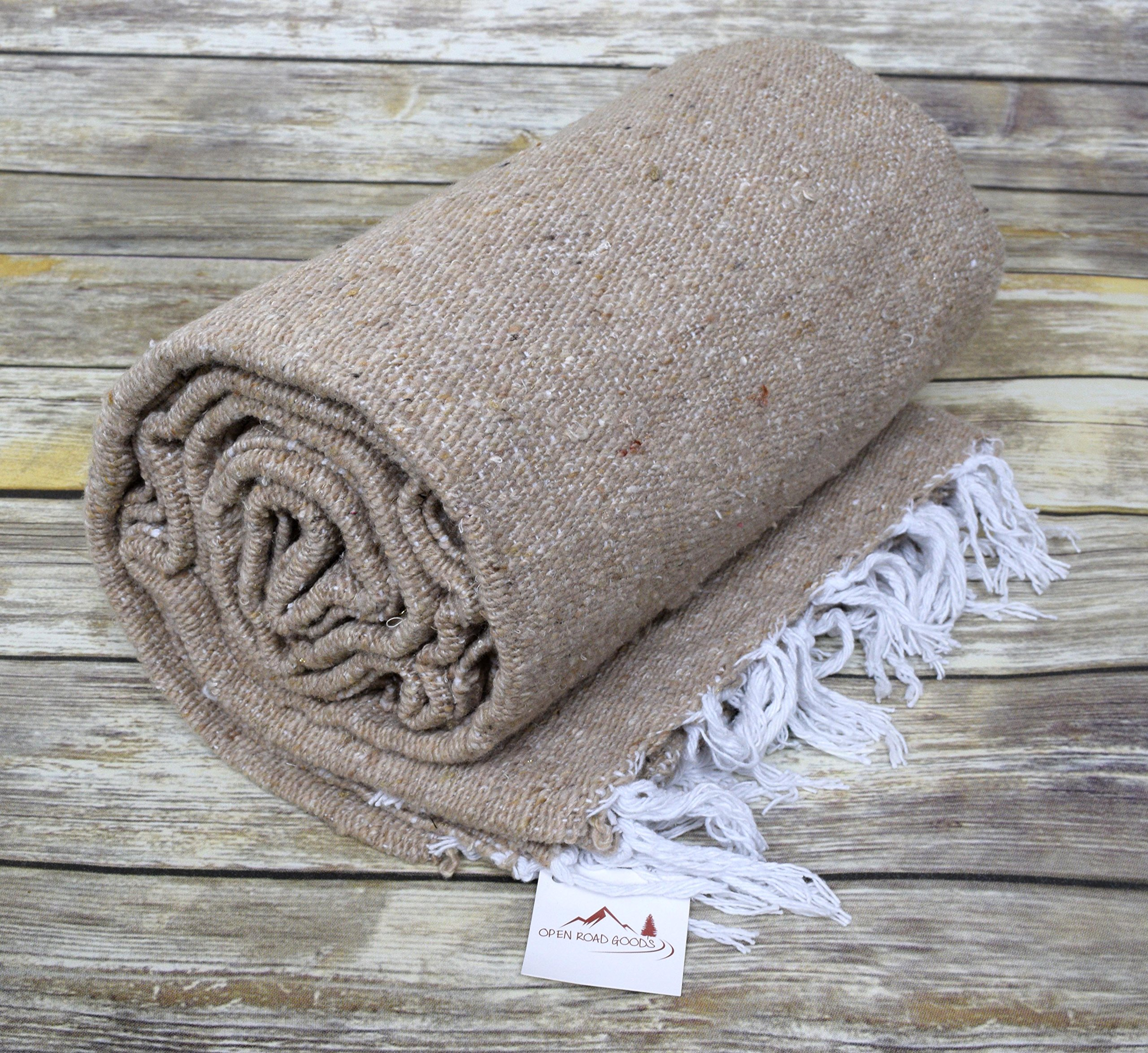Open Road Goods Handmade Tan/Khaki Yoga Blanket - Thick Mexican Blanket or Throw - Made for Yoga! by Open Road Goods (Image #1)