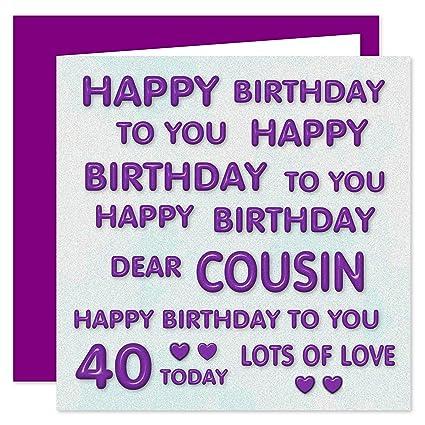 Cousin - Tarjeta de felicitación de 40 cumpleaños, diseño ...