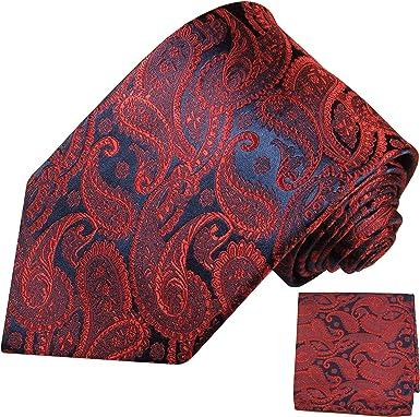 PM Krawatten Paul Malone Corbata de seda paisley azul rojo + pañuelo
