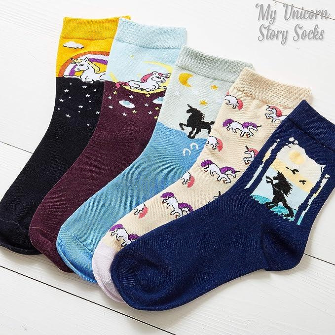 Generic M/ädchen 6 Paar Socken mit Einhorn-Motiv Baumwolle