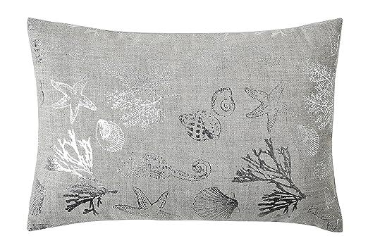 Amazon.com: Metálico Plata Seashell almohada (Lino con ...