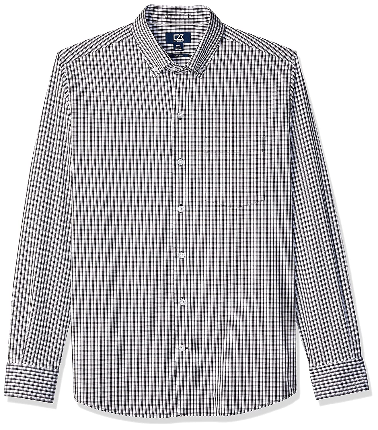 Charcoal Gingham 4X Grande Cutter & Buck Homme BCW00143 Manches Longues Chemise habillée