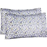 AmazonBasics Microfiber Pillowcases - 2-Pack, Standard, Blue Floral