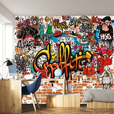 Photo Wallpaper Graffiti 366 X 254cm Children S Room Kids Stone Wall