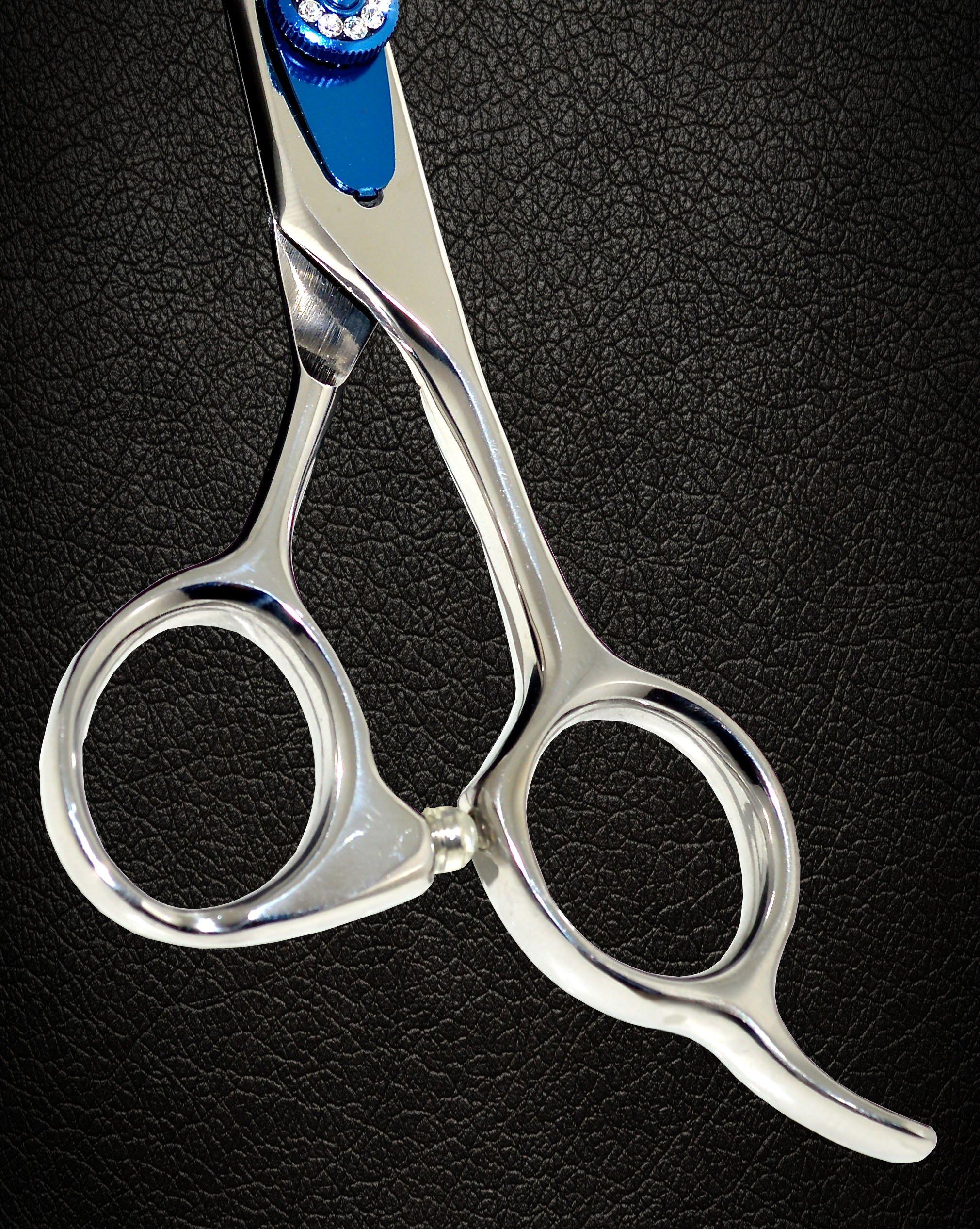Equinox Professional Razor Edge Series - Barber Hair Cutting Scissors/Shears - 6.5'' Overall Length - Beautiful White Diamond Stones with Blue Chromium Fine Adjustment Tension Screw by Equinox International (Image #5)