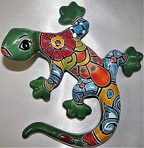 Mexico Ceramic Talavera Geico Lizard - 9.5 in - Green Gecko Multicolor - Mexican Handmade - Individually Unique - Geckos Décor - Garden Decorations Outdoor Wall - Ceramic Wall Art Décor