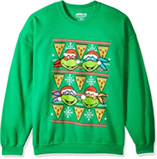 nickelodeon mens tmnt pizza ugly christmas sweatshirt