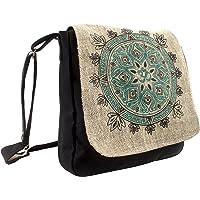 Natural Hemp-Cotton Eco Mandala hippie boho Cross body Messenger Bag sling bag, Black (Black) - 90458-1