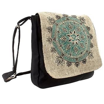93676fef8 Amazon.com   Natural Hemp-Cotton Eco Mandala Cross body Messenger Bag-Black-One  Size   Messenger Bags