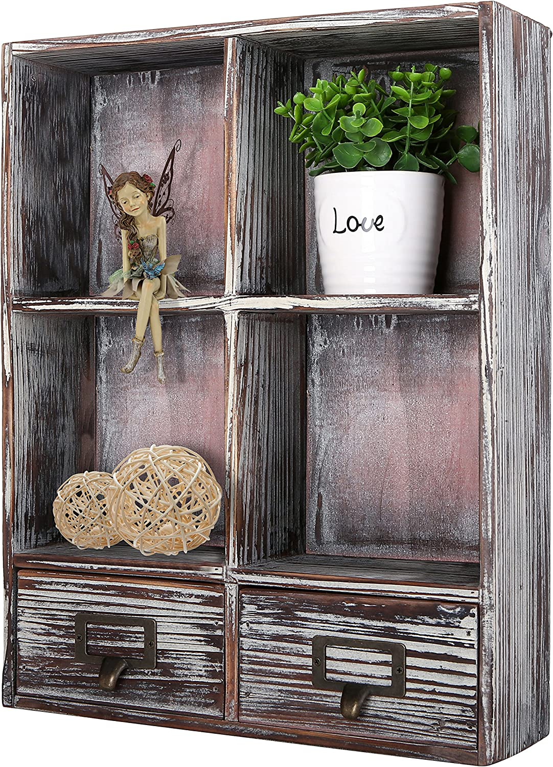 Amazon Com Mygift Rustic Torched Wood Wall Mounted Shadow Box With 4 Cubby Shelving And 2 Drawers With Label Holders