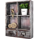 MyGift Torched Wood 4 Slot Cubby Shelving Unit w/ 2 Slideout Drawers, Dark Brown
