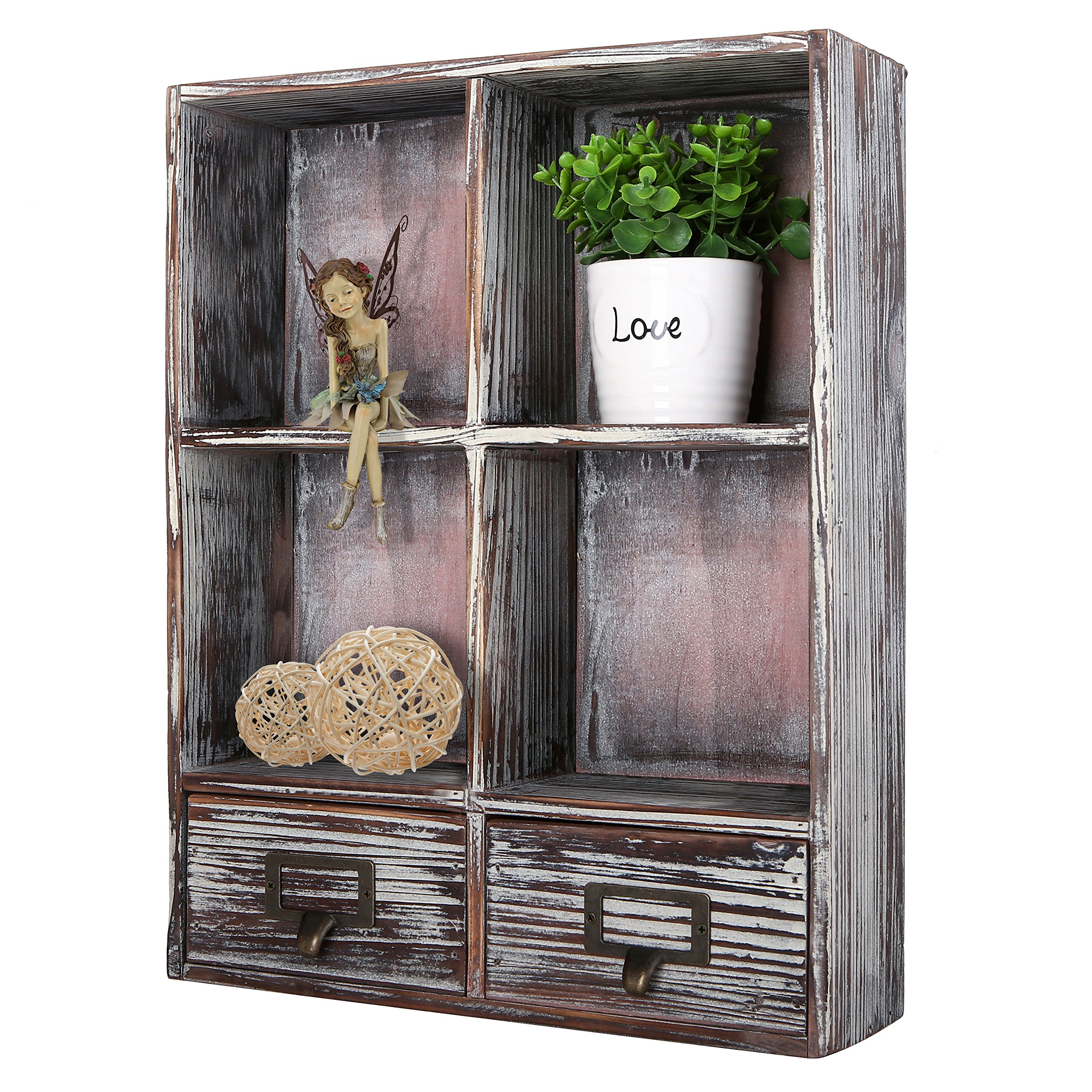 MyGift Rustic Torched Wood Wall Mounted Shadow Box w/Cubby Shelving, 2 Drawers and Label Holders, Dark Brown by MyGift