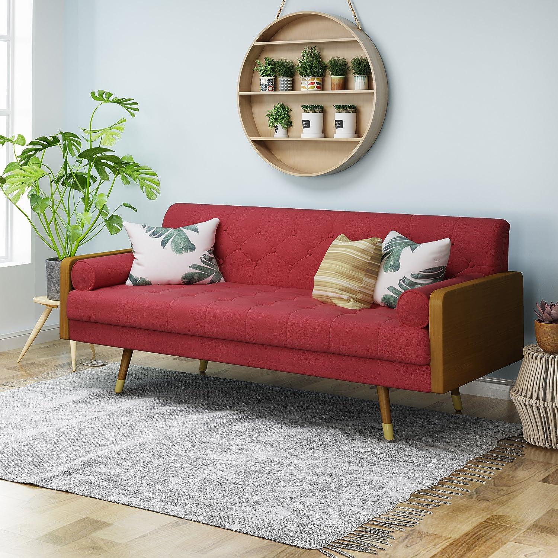 Amazon Com Aidan Mid Century Modern Tufted Fabric Sofa Red