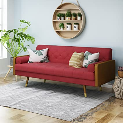 Amazon.com: Aidan Mid Century Modern Tufted Fabric Sofa, Red ...