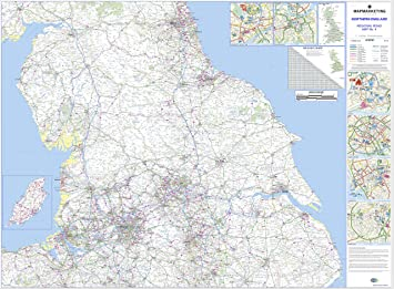 Northern england road map laminated regional wall map 4 amazon northern england road map laminated regional wall map 4 gumiabroncs Images