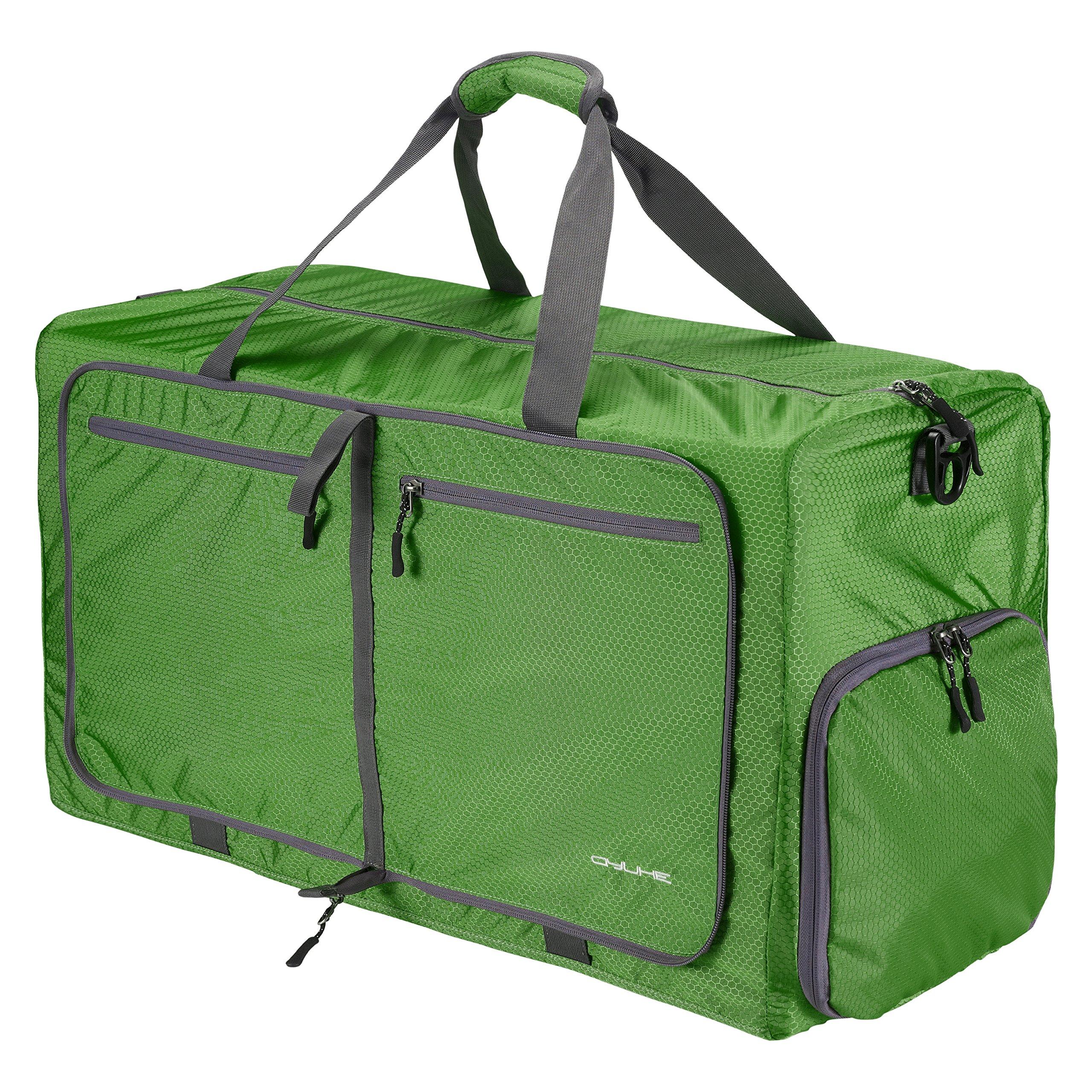QYUHE 80L Foldable Duffle Bag Extra Large Tear Resistant Luggage Bag for Shopping Travel Gym Sports Men Women Teens (Dark green)