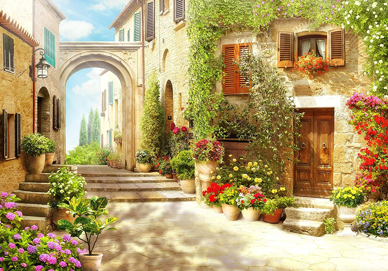 wandmotiv24 Fototapete Strasse italienische Stadt Italien Gasse XXL 400 x 280 cm 8 Teile Fototapeten Wandbild Motivtapeten Vlies Tapeten Blumen