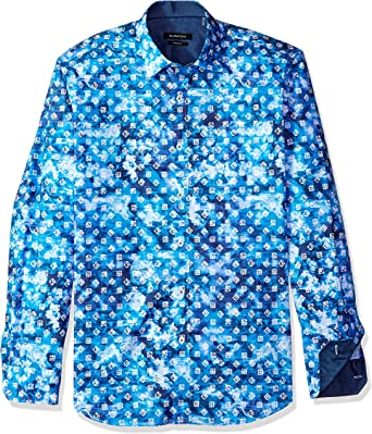 Bugatchi Mens Printed Tie Dye Periwinkle Motif Fitted Cotton Shirt