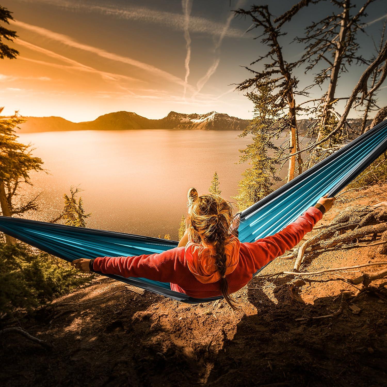 amazon com foxelli 1 double camping hammock lightweight