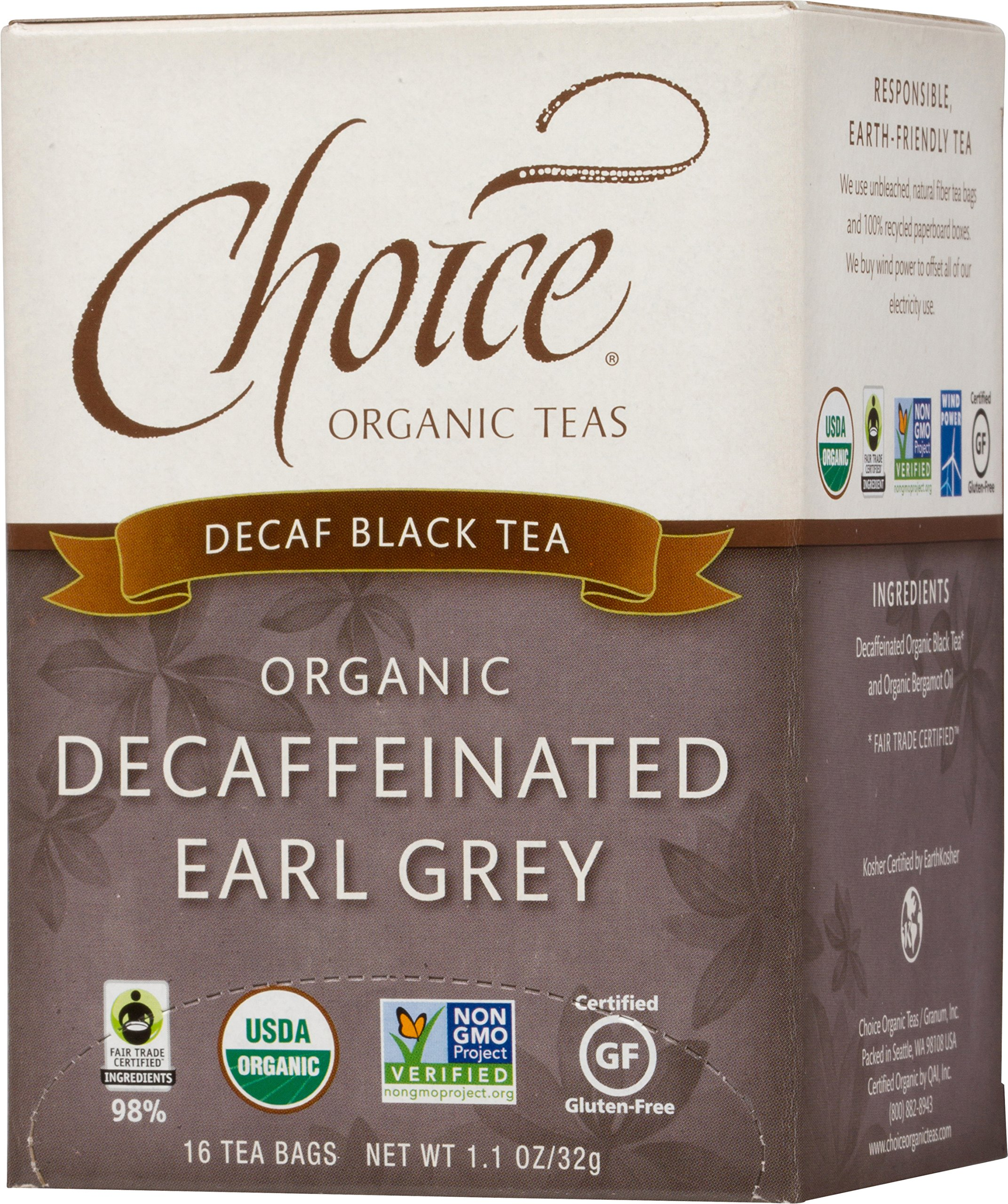 Choice Organic Teas Black Tea, Decaffeinated Earl Grey, 16 Count