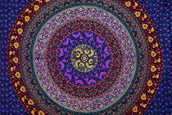 indian craft castle bohemian psychedelic hippie mandala tapestry wall hanging indian dorm decor ethnic