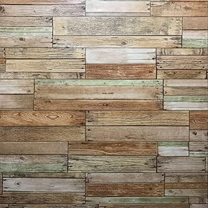 10m Slavyanski Wallcoverings Vinyl Wallpaper Brown Copper Green Gray Vintage Retro Faux Rust Rustic Realistic Barn