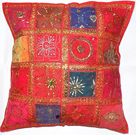 Large Zip Decorative Cushion Cover Red 24x24 60x60cm Indian