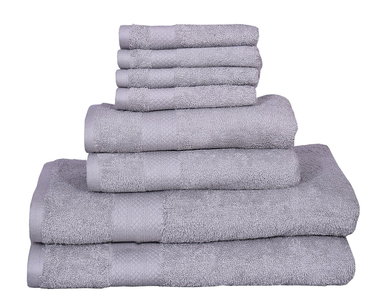 100% Cotton towels, 8 piece Towel Set - 2 Bath Towels, 2 Hand Towels, 4 Washcloths, Quick Dry, Machine washable, Hotel Quality, Soft, Absorbent (white, 8 pc set) KT Towels