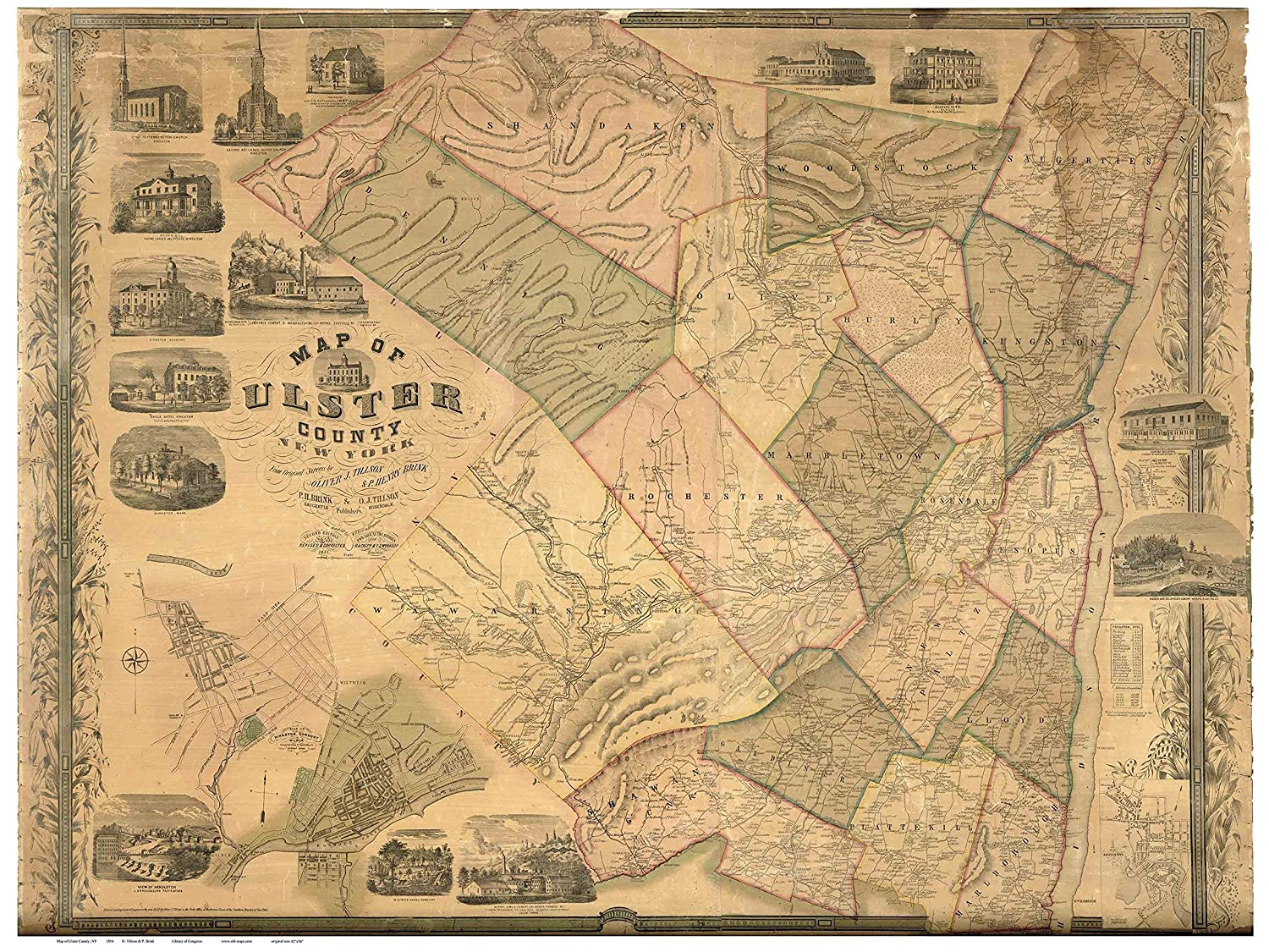 Old Map Of New York.Ulster County New York 1854 Wall Map With Homeowner Names Old Map Reprint