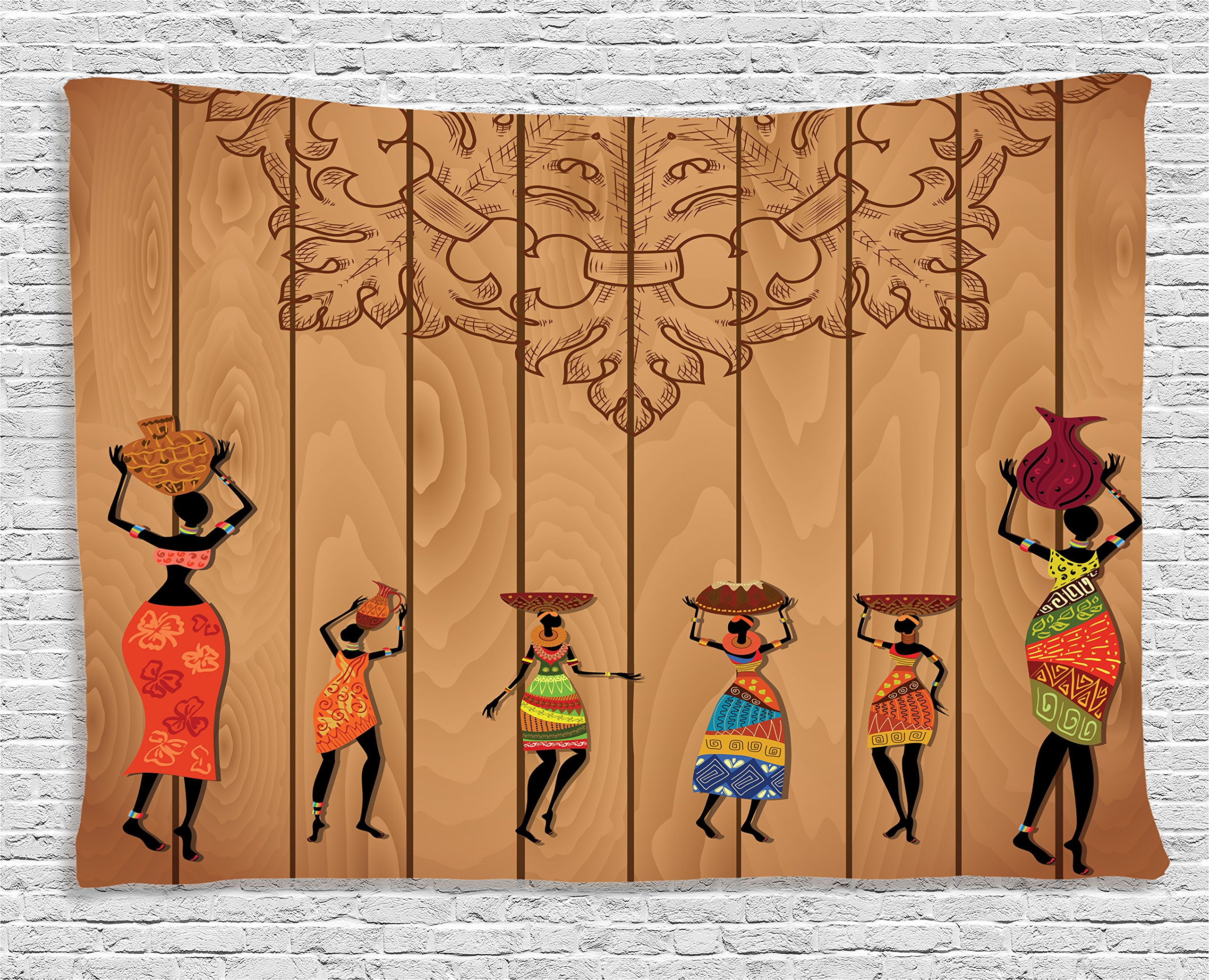 Ambesonne African Decor Tapestry, Ancient African Girl Images on Vintage Wooden Texture Ethnic Female Fashion Art Concept, Wall Hanging for Bedroom Living Room Dorm, 60 W X 40 L inches, Multicolor