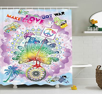 Ambesonne Hippie Shower Curtain Funny Peacock With Make Love Not War Quote Flower Children