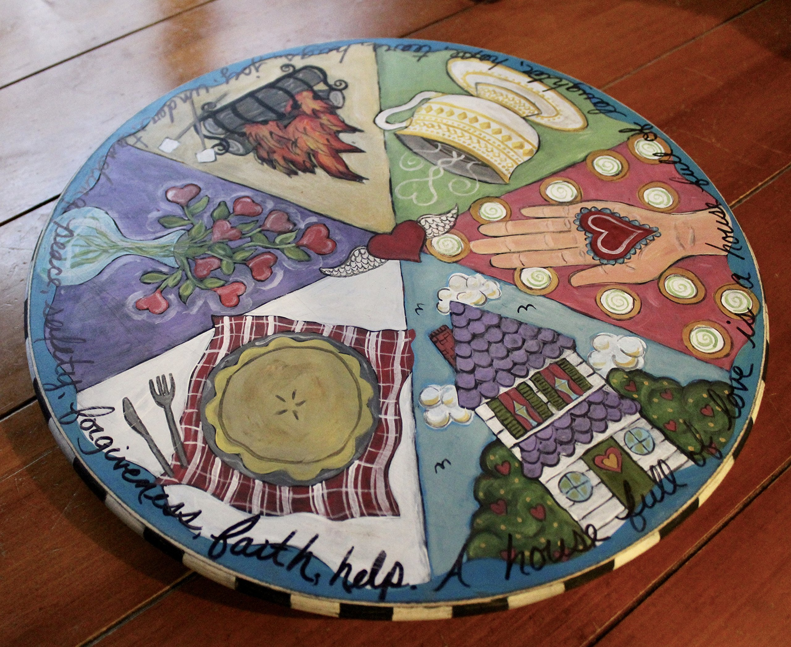 'A House Full of Love' Handpainted Wooden Lazy Susan by NC Folk Artist, Kristen Feighery by The Art of Kristen Feighery (Image #2)