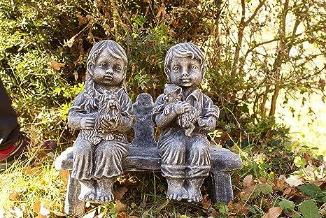 Figura DE Piedra Jardin NIÑOS Banco HORMIGÓN: Amazon.es: Jardín