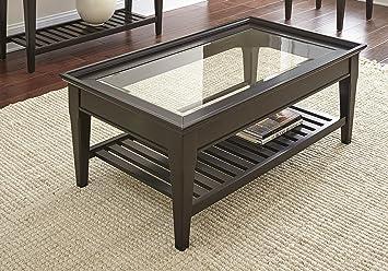 Superbe Steve Silver Bridget Glass Top Coffee Table In Ebony