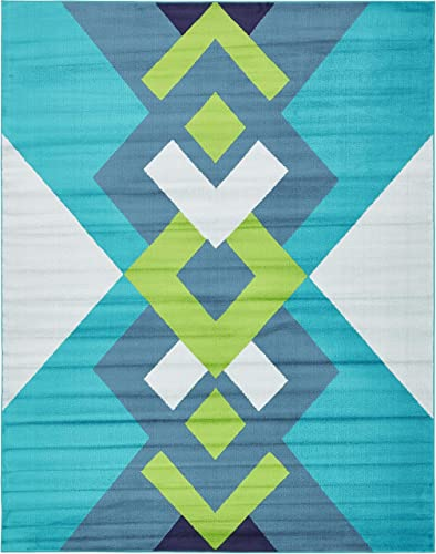 Unique Loom Metro Collection Geometric Squares Abstract Bright Colors Turquoise Area Rug 8 0 x 10 0