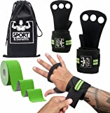 Crossfit Gloves for Girls and Men - Leather Hand Grips with Detachable Wrist Support for Pull Ups, Crossfit Training, WODs, Kettlebells & More - Gymnastics Hand Grips 3 Hole