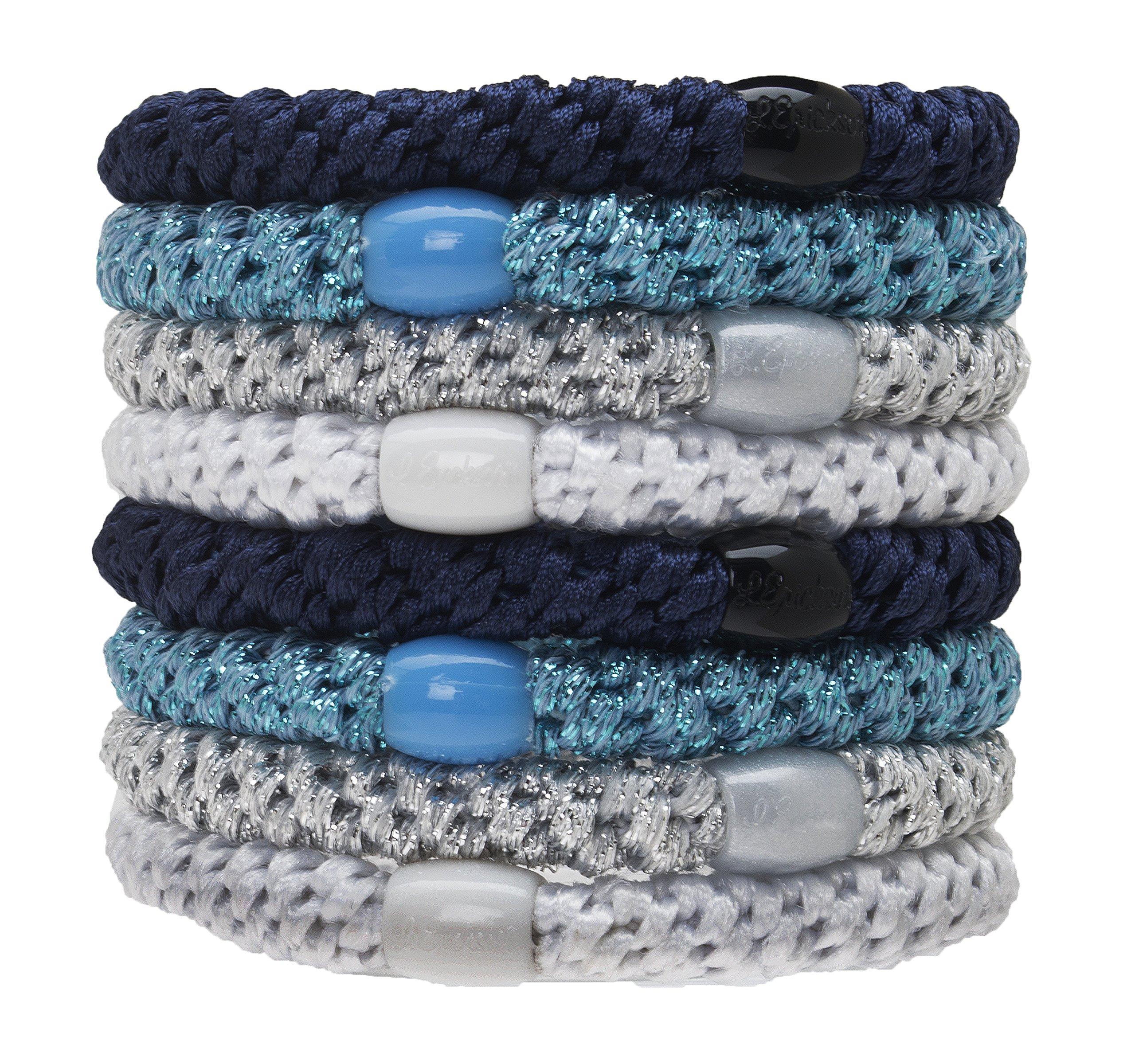 L. Erickson Grab & Go Ponytail Holders - Set of Eight - Blue Glow