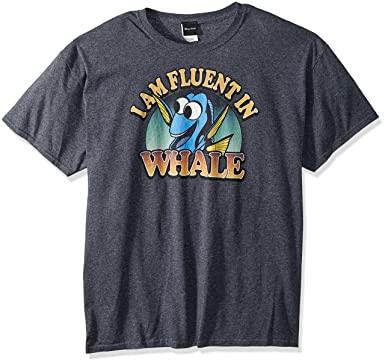 6d9c3c1b Disney Men's Finding Dory Fluent in Whale Graphic T-Shirt, Charcoal  Heather, Small