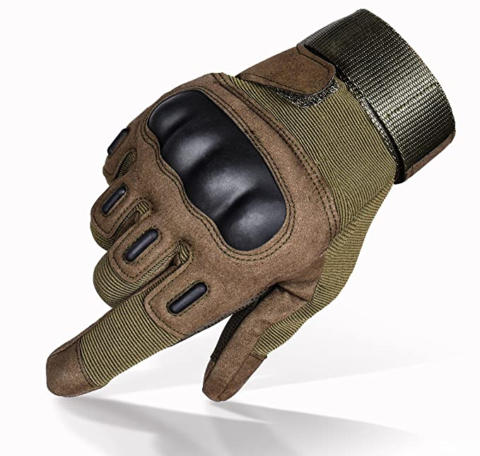 TitanOPS Full Finger Hard Knuckle Motorcycle Military Tactical Combat Training Army Shooting Outdoor Gloves (Green, M)