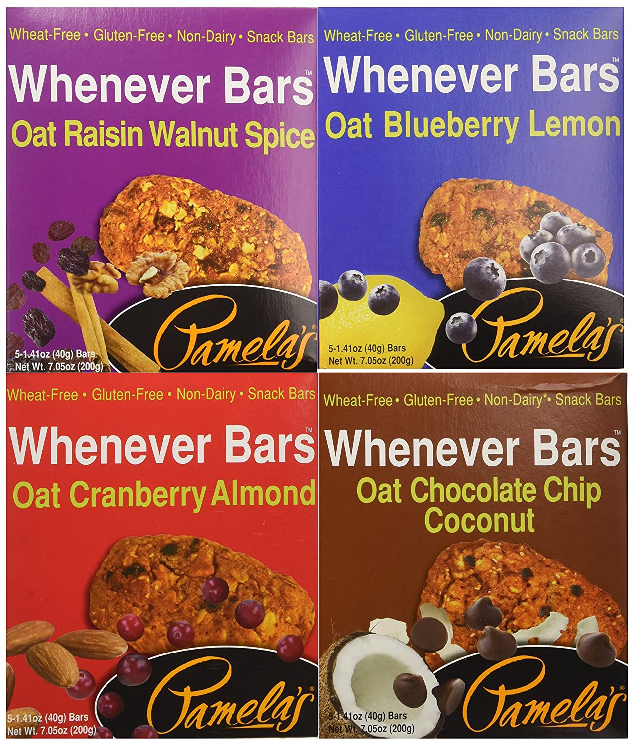 Pamela's Products Gluten Free Whenever Bars, Variety Pack of 4 Flavors, 20 Bars Total
