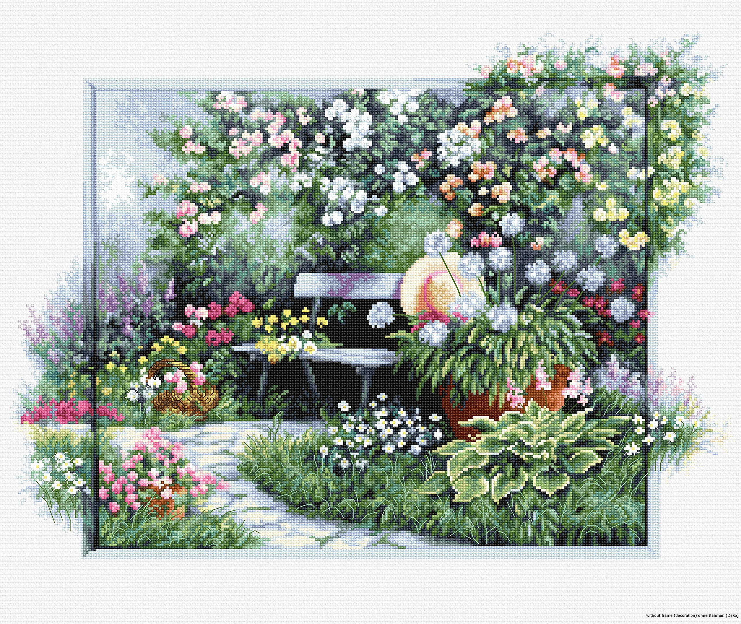 Luca-S BU4012 Flower Garden Bench Cross Stitch Kit Cotton, Multicoloured, 44.5 x 32.5 cm