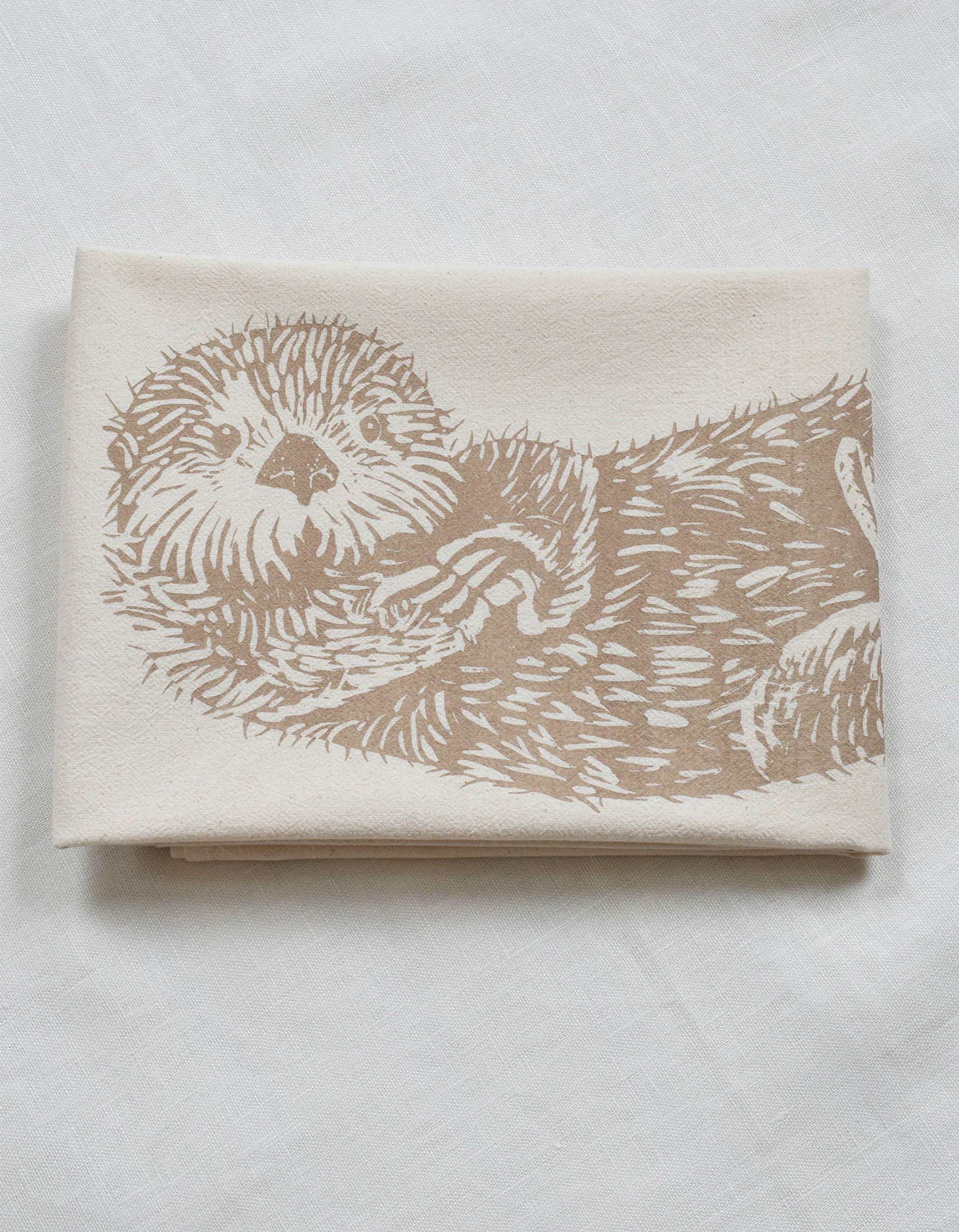 Otter Tea Towel - Organic Flour Sack Cotton - Animal Tea Towels - Cotton Dishcloth - Sea Otter Kitchen Towel